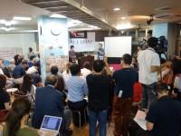 会場には報道各社をはじめ予定人数を大幅に超える参加者が集まりました